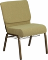 HERCULES Series 21''W Church Chair in Moss Green Fabric with Cup Book Rack - Gold Vein Frame [FD-CH0221-4-GV-GN-BAS-GG]