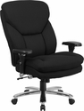 HERCULES Series 24/7 Intensive Use Big & Tall 400 lb. Rated Black Fabric Executive Swivel Chair with Lumbar Knob [GO-2085-GG]
