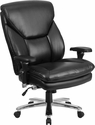 HERCULES Series 24/7 Intensive Use Big & Tall 400 lb. Rated Black Leather Executive Swivel Chair with Lumbar Knob [GO-2085-LEA-GG]