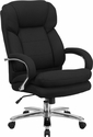 HERCULES Series 24/7 Intensive Use Big & Tall 500 lb. Rated Black Fabric Executive Swivel Chair with Loop Arms [GO-2078-GG]