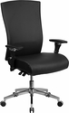HERCULES Series 24/7 Intensive Use 300 lb. Rated Black Leather Multifunction Executive Swivel Chair with Seat Slider [GO-WY-85H-1-GG]