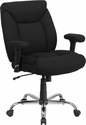 HERCULES Series Big & Tall 400 lb. Rated Black Fabric Swivel Task Chair with Adjustable Arms [GO-2073F-GG]