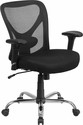 HERCULES Series Big & Tall 400 lb. Rated Black Mesh Swivel Task Chair with Height Adjustable Back and Arms [GO-2032-GG]