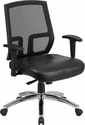 HERCULES Series Big & Tall 400 lb. Rated Black Mesh Mid-Back Executive Swivel Chair with Leather Seat and Arms [CP-A337A01-LEA-GG]