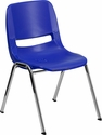 HERCULES Series 440 lb. Capacity Navy Ergonomic Shell Stack Chair with Chrome Frame and 12'' Seat Height [RUT-12-NVY-CHR-GG]