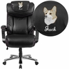 Embroidered HERCULES Series Big & Tall 500 lb. Rated Black Leather Executive Swivel Chair with Height Adjustable Headrest [GO-2223-BK-EMB-GG]