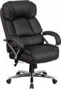 HERCULES Series Big & Tall 500 lb. Rated Black Leather Executive Swivel Chair with Chrome Base and Arms [GO-2222-GG]