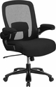 HERCULES Series Big & Tall 500 lb. Rated Black Mesh Executive Swivel Chair with Fabric Seat and Adjustable Lumbar [BT-20180-GG]
