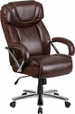 HERCULES Series Big & Tall 500 lb. Rated Brown Leather Executive Swivel Chair with Extra Wide Seat [GO-2092M-1-BN-GG]