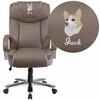 Embroidered HERCULES Series Big & Tall 500 lb. Rated Taupe Leather Executive Swivel Chair with Extra Wide Seat [GO-2092M-1-TP-EMB-GG]