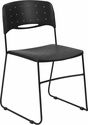 HERCULES Series 771 lb. Capacity Black Sled Base Stack Chair with Air-Vent Seat [RUT-NC558A-BK-GG]
