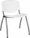 HERCULES Series 880 lb. Capacity White Plastic Stack Chair with Titanium Frame [RUT-F01A-WH-GG]
