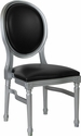 HERCULES Series 900 lb. Capacity King Louis Chair with Black Vinyl Back and Seat and Silver Frame [LE-S-B-GG]