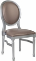 HERCULES Series 900 lb. Capacity King Louis Chair with Taupe Vinyl Back and Seat and Silver Frame [LE-S-T-GG]