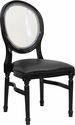 HERCULES Series 900 lb. Capacity King Louis Chair with Transparent Back, Black Vinyl Seat and Black Frame [LE-B-B-C-GG]