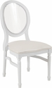 HERCULES Series 900 lb. Capacity King Louis Chair with Transparent Back, White Vinyl Seat and White Frame [LE-W-W-C-GG]
