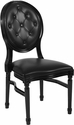 HERCULES Series 900 lb. Capacity King Louis Chair with Tufted Back, Black Vinyl Seat and Black Frame [LE-B-B-T-GG]