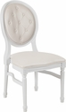 HERCULES Series 900 lb. Capacity King Louis Chair with Tufted Back, White Vinyl Seat and White Frame [LE-W-W-T-GG]