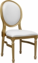 HERCULES Series 900 lb. Capacity King Louis Chair with White Vinyl Back and Seat and Gold Frame [LE-G-W-GG]