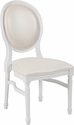 HERCULES Series 900 lb. Capacity King Louis Chair with White Vinyl Back and Seat and White Frame [LE-W-W-GG]