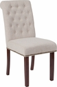 HERCULES Series Beige Fabric Parsons Chair with Rolled Back, Nail Head Trim and Walnut Finish [BT-P-BGE-FAB-GG]