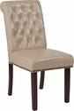 HERCULES Series Beige Leather Parsons Chair with Rolled Back, Nail Head Trim and Walnut Finish [BT-P-BG-LEA-GG]