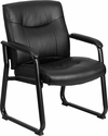 HERCULES Series Big & Tall 500 lb. Rated Black Leather Executive Side Reception Chair with Sled Base [GO-2136-GG]
