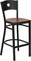 HERCULES Series Black Circle Back Metal Restaurant Barstool - Cherry Wood Seat [XU-DG-60120-CIR-BAR-CHYW-GG]