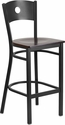 HERCULES Series Black Circle Back Metal Restaurant Barstool - Walnut Wood Seat [XU-DG-60120-CIR-BAR-WALW-GG]