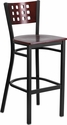HERCULES Series Black Cutout Back Metal Restaurant Barstool - Mahogany Wood Back & Seat [XU-DG-60118-MAH-BAR-MTL-GG]