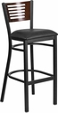 HERCULES Series Black Slat Back Metal Restaurant Barstool - Walnut Wood Back,Black Vinyl Seat [XU-DG-6H1B-WAL-BAR-BLKV-GG]