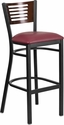 HERCULES Series Black Slat Back Metal Restaurant Barstool - Walnut Wood Back,Burgundy Vinyl Seat [XU-DG-6H1B-WAL-BAR-BURV-GG]