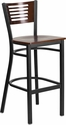 HERCULES Series Black Slat Back Metal Restaurant Barstool - Walnut Wood Back & Seat [XU-DG-6H1B-WAL-BAR-MTL-GG]