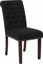 HERCULES Series Black Fabric Parsons Chair with Rolled Back, Nail Head Trim and Walnut Finish [BT-P-BK-FAB-GG]