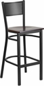 HERCULES Series Black Grid Back Metal Restaurant Barstool - Walnut Wood Seat [XU-DG-60116-GRD-BAR-WALW-GG]