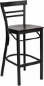 HERCULES Series Black Ladder Back Metal Restaurant Barstool - Mahogany Wood Seat [XU-DG6R9BLAD-BAR-MAHW-GG]