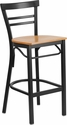 HERCULES Series Black Ladder Back Metal Restaurant Barstool - Natural Wood Seat [XU-DG6R9BLAD-BAR-NATW-GG]