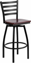 HERCULES Series Black Ladder Back Swivel Metal Barstool - Mahogany Wood Seat [XU-6F8B-LADSWVL-MAHW-GG]