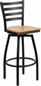 HERCULES Series Black Ladder Back Swivel Metal Barstool - Natural Wood Seat [XU-6F8B-LADSWVL-NATW-GG]