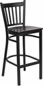 HERCULES Series Black Vertical Back Metal Restaurant Barstool - Mahogany Wood Seat [XU-DG-6R6B-VRT-BAR-MAHW-GG]
