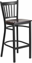 HERCULES Series Black Vertical Back Metal Restaurant Barstool - Walnut Wood Seat [XU-DG-6R6B-VRT-BAR-WALW-GG]
