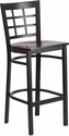 HERCULES Series Black Window Back Metal Restaurant Barstool - Walnut Wood Seat [XU-DG6R7BWIN-BAR-WALW-GG]