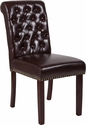 HERCULES Series Brown Leather Parsons Chair with Rolled Back, Nail Head Trim and Walnut Finish [BT-P-BRN-LEA-GG]