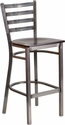 HERCULES Series Clear Coated Ladder Back Metal Restaurant Barstool - Walnut Wood Seat [XU-DG697BLAD-CLR-BAR-WALW-GG]