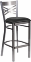 HERCULES Series Clear Coated ''X'' Back Metal Restaurant Barstool - Black Vinyl Seat [XU-6F8B-CLR-BAR-BLKV-GG]