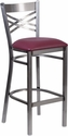HERCULES Series Clear Coated ''X'' Back Metal Restaurant Barstool - Burgundy Vinyl Seat [XU-6F8B-CLR-BAR-BURV-GG]