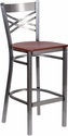 HERCULES Series Clear Coated ''X'' Back Metal Restaurant Barstool - Cherry Wood Seat [XU-6F8B-CLR-BAR-CHYW-GG]
