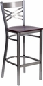 HERCULES Series Clear Coated ''X'' Back Metal Restaurant Barstool - Mahogany Wood Seat [XU-6F8B-CLR-BAR-MAHW-GG]
