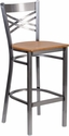 HERCULES Series Clear Coated ''X'' Back Metal Restaurant Barstool - Natural Wood Seat [XU-6F8B-CLR-BAR-NATW-GG]