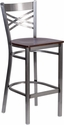 HERCULES Series Clear Coated ''X'' Back Metal Restaurant Barstool - Walnut Wood Seat [XU-6F8B-CLR-BAR-WALW-GG]